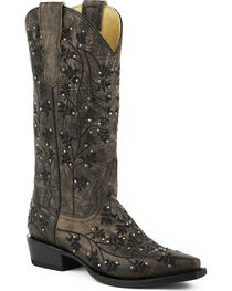 Stetson Women's Desiree Snip Western Boots, Brown, hi-res