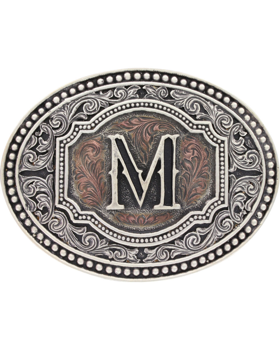 Montana Silversmiths Initial M Belt Buckle, Silver, hi-res