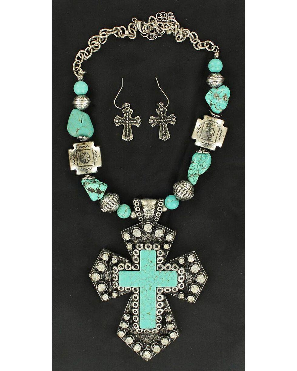 Blazin Roxx Turquoise Stone Large Cross Necklace & Earrings Set, Turquoise, hi-res
