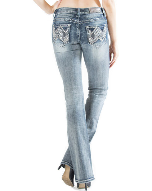 Grace in LA Women's Light Wash Abstract Easy Fit Bootcut Jeans , Indigo, hi-res