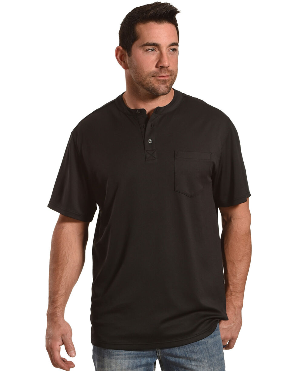 American Worker Men's Light Grey Trumbull Short Sleeve Henley, Black, hi-res
