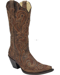 Corral Women's Embroidery and Studs Snip Toe Western Boots, , hi-res
