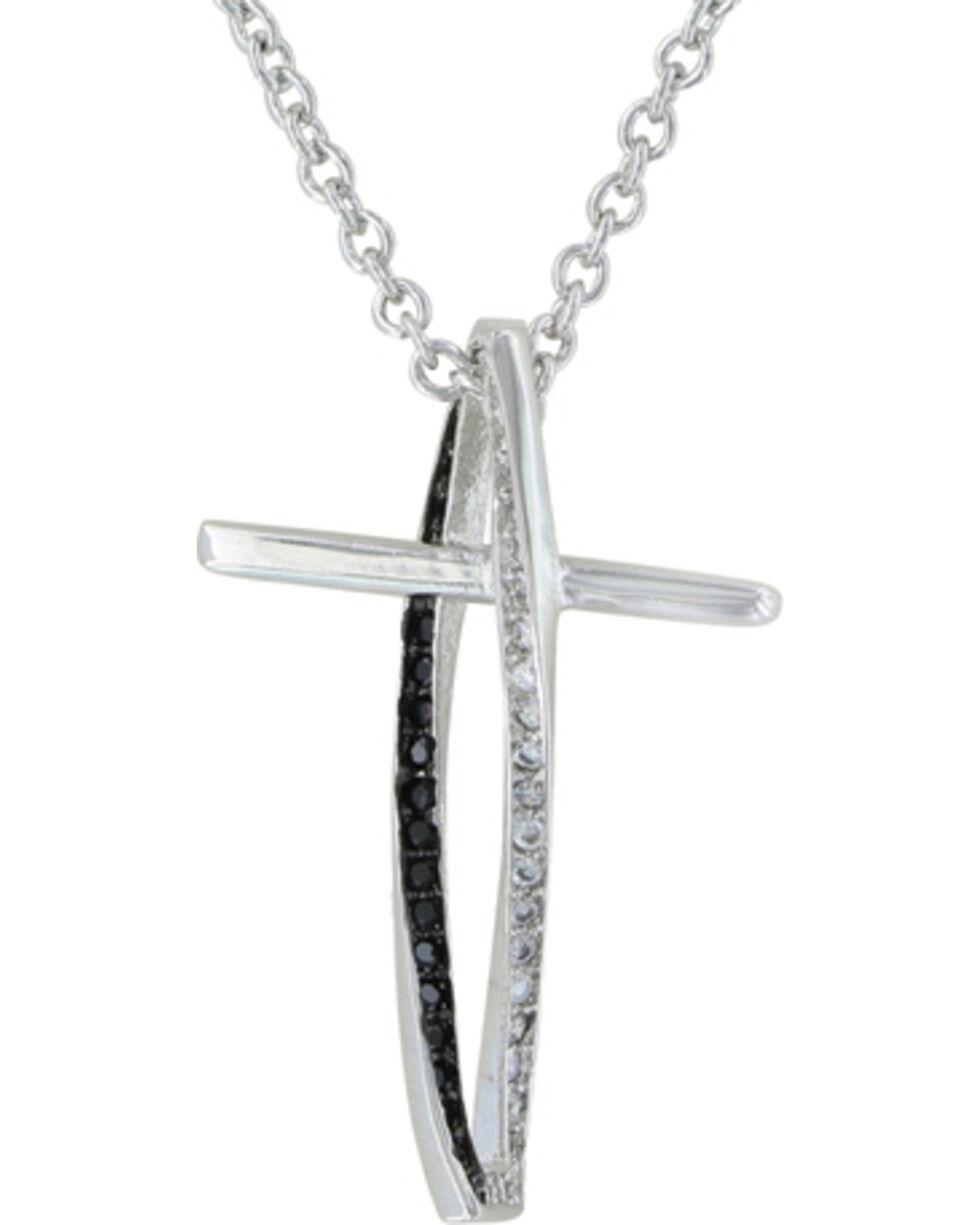 Montana Silversmiths Faith in Motion Cross Necklace, Silver, hi-res