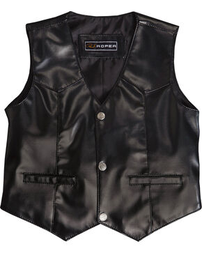 Roper Boy's Suede Leather Vest, Black, hi-res
