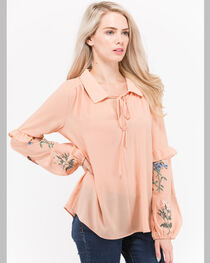 Polagram Women's Floral Embroidered Chambray Shirt, , hi-res
