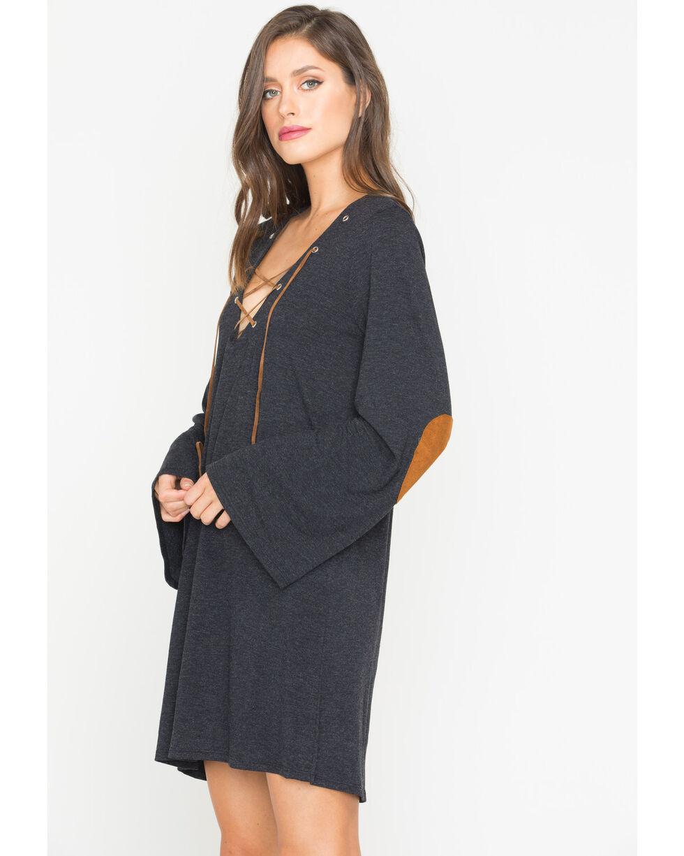 Tasha Polizzi Women's Black Aspen Lace-Up Neck Dress , Black, hi-res