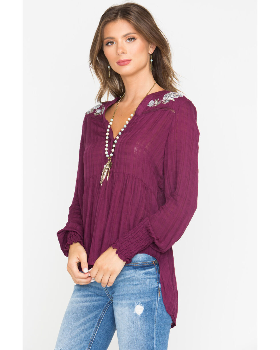 Shyanne Women's Embroidered Long Sleeve Peasant Top, Burgundy, hi-res