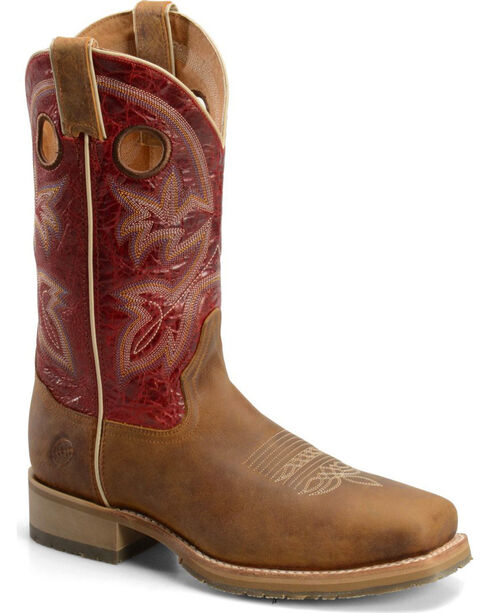 Double-H Men's Wide Square Toe ICE Roper Western Boots, Brown, hi-res