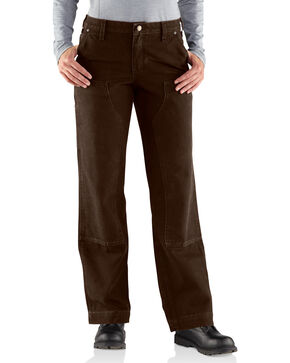 Carhartt Women's Canvas Kane Relaxed-Fit Dungaree Pants, Dark Brown, hi-res