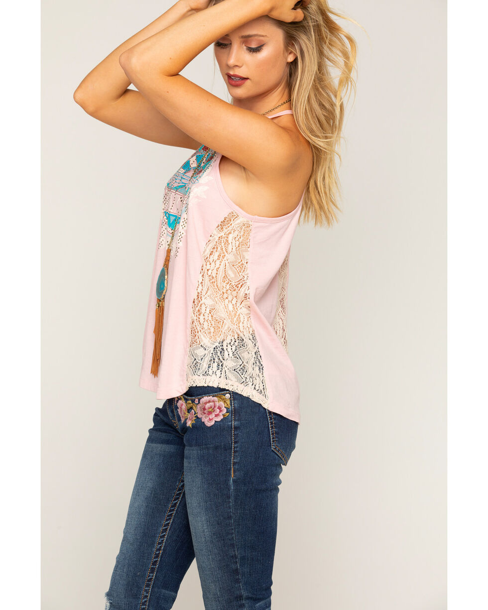Shyanne Women's Dream Catcher Lace Racerback Tank, Blush, hi-res