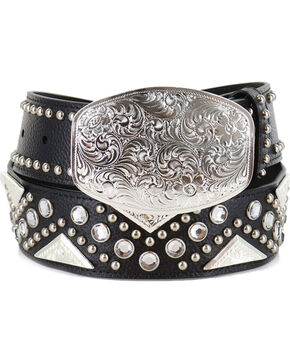 Shyanne Women's Filigree and Rhinestones Western Belt, Silver, hi-res