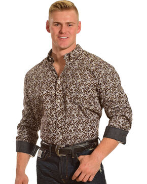 Cody James Men's Jackson Hole Long Sleeve Printed Shirt, Brown, hi-res