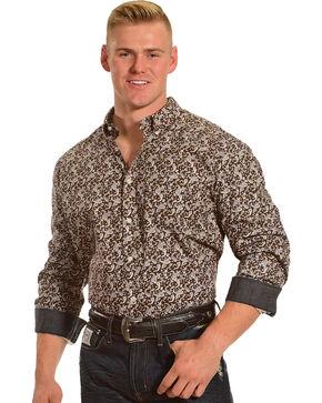 Cody James Men's Jackson Hole Long Sleeve Printed Shirt, Brown, hi-res