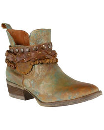 Corral Women's Green Harness and Studded Short Boots - Round Toe , , hi-res