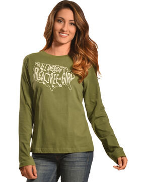 Realtree Girl Olive All-American Long Sleeve T-Shirt, Olive, hi-res