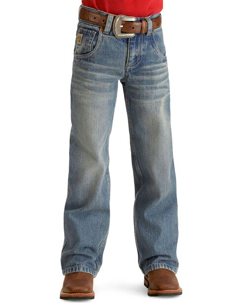 Cinch Boy's Tanner Relaxed Fit Boot Cut Jeans, Denim, hi-res