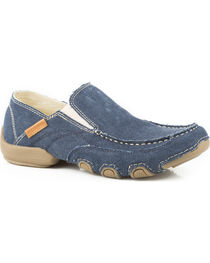 Roper Men's Blue Dougie Casual Driving Moc Shoes , , hi-res