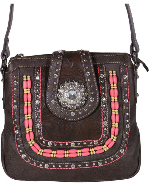 Montana West Women's Concho Concealed Weapon Messenger Bag , Taupe, hi-res