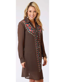 Roper Women's Long Sleeve Embroidered Front Button Down Dress, , hi-res