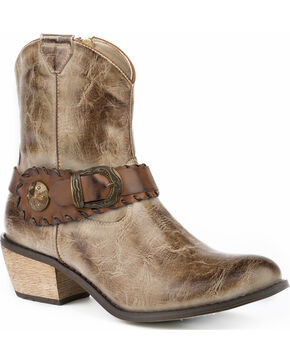 Roper Women's Mae Buckle Strap Short Fashion Boots - Round Toe, Tan, hi-res