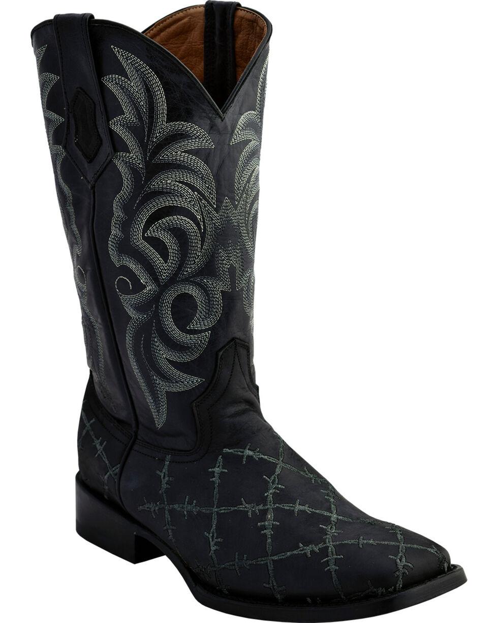Ferrini Men's Grey Barbed Wire Western Boots - Square Toe , Black, hi-res