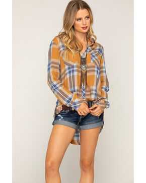 Shyanne® Women's Plaid Long Sleeve Button Down Shirt, Rust Copper, hi-res