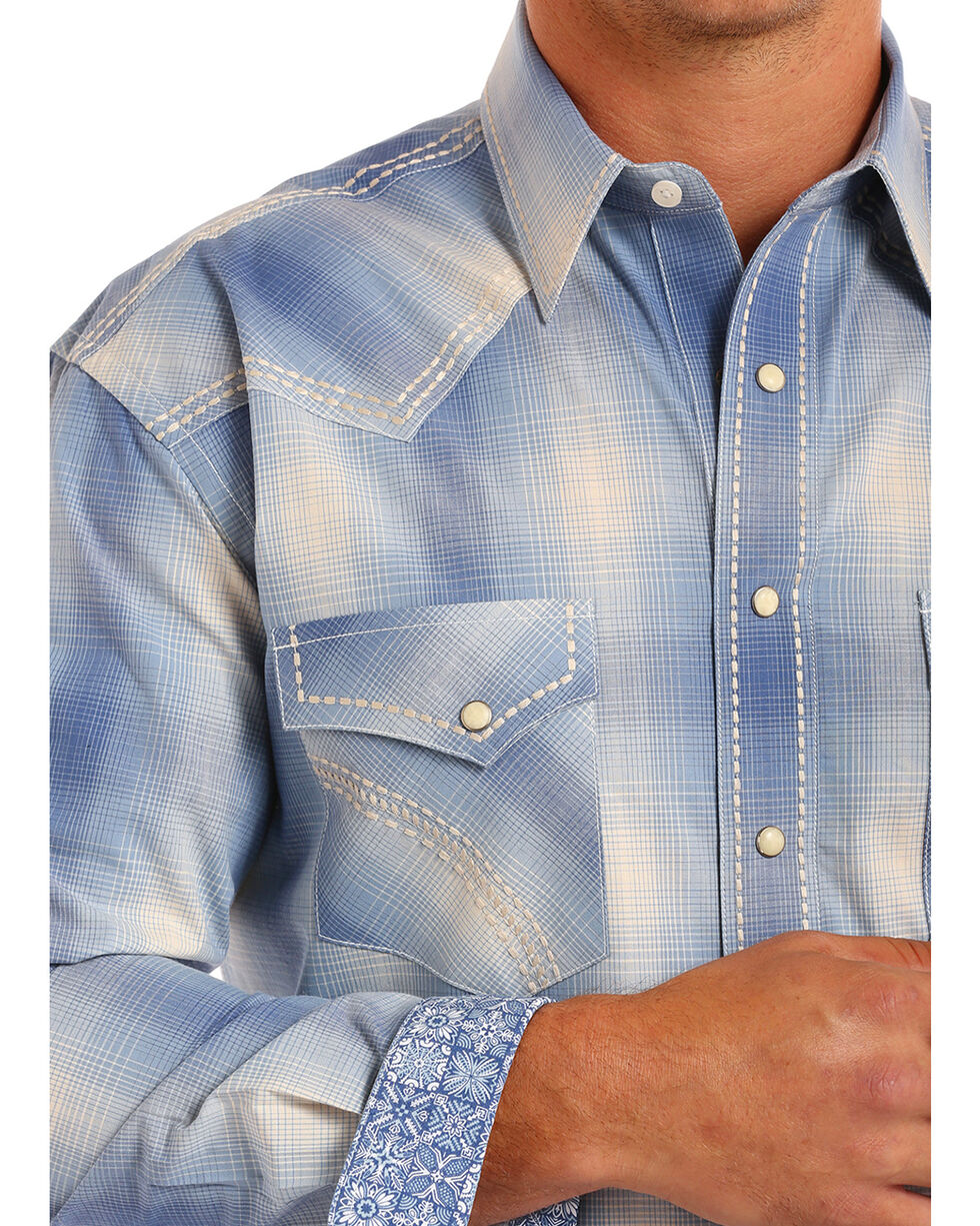 Rough Stock by Panhandle Men's Laconia Vintage Ombre Plaid Shirt, Blue, hi-res