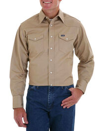 Wrangler Men's Khaki Authentic Cowboy Cut Work Shirt , , hi-res