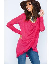 Wrangler Women's Asymmetrical Fringe Sweater, , hi-res