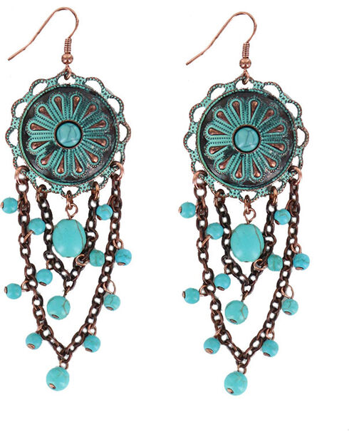 Shyanne® Women's Antiqued Medallion Earrings, Turquoise, hi-res