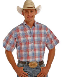 Tuf Cooper Men's Red and Blue Plaid Performance Short Sleeve Shirt , , hi-res