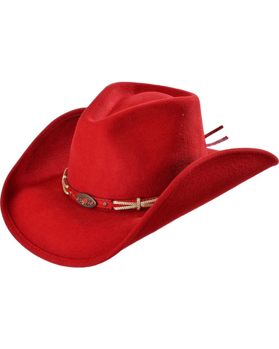 Bullhide Women's Emotionally Charged Wool Hat, Red, hi-res
