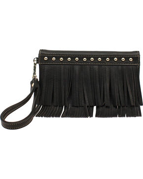 Blazin Roxx Women's Fringe Tri Fold Wallet, Black, hi-res