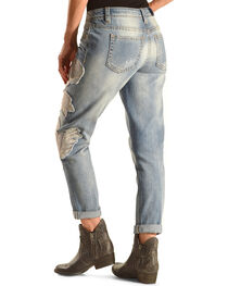 Miss Me Women's Blue Jasmine Boyfriend Ankle Cuff Jeans , Denim, hi-res