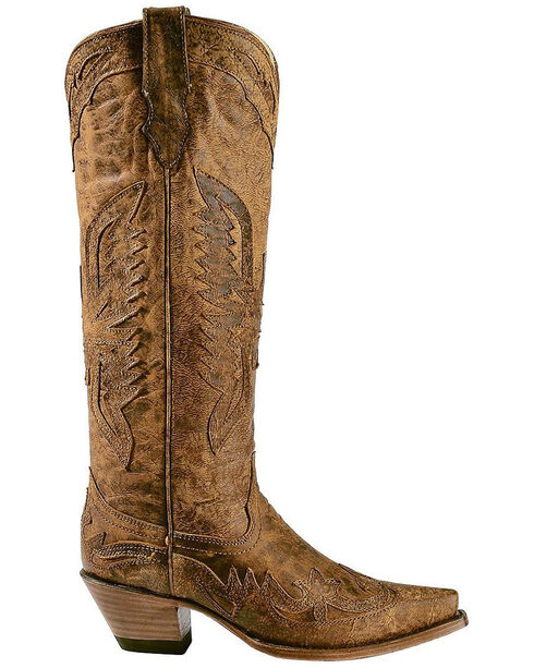 Corral Women's Vintage Eagle Overlay Tall Western Boots, Brown, hi-res