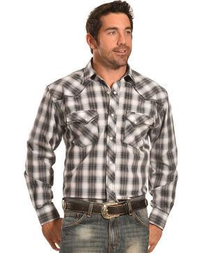 Crazy Cowboy Men's Stitched Black Plaid Western Snap Shirt  , Black, hi-res