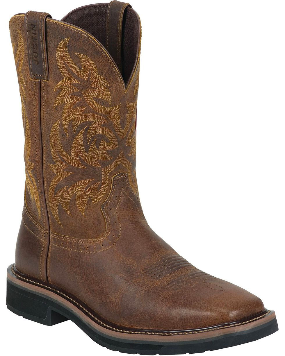 Justin Men's Stampede Pull-On Work Boots, Tan, hi-res