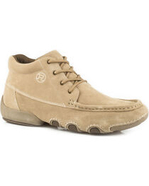 Roper Men's Tan 4 Eyelet Chukka Driving Moc Shoes , , hi-res