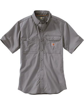 Carhartt Men's Double Pocket Short Sleeve Work Shirt, Grey, hi-res