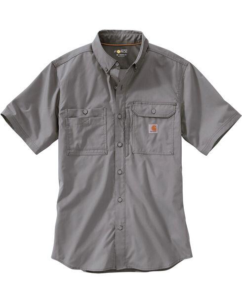 Carhartt Men's Double Pocket Short Sleeve Work Shirt, Grey, hi-res