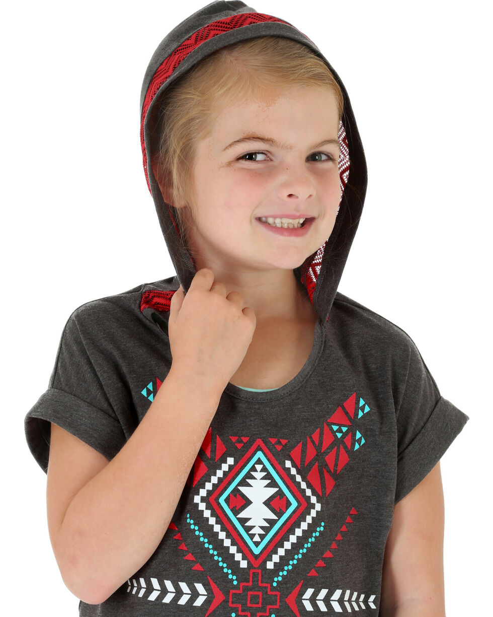 Wrangler Rock 47 Girls' Hooded Aztec Print Tee, , hi-res