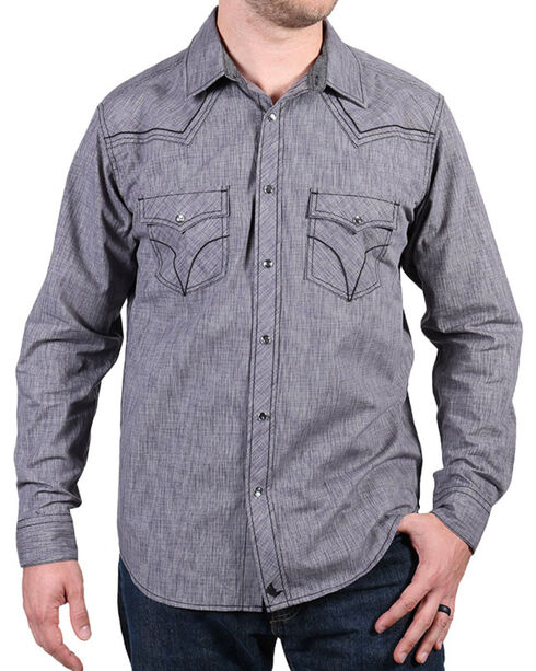 Cody James® Men's Leadville Solid Western Long Sleeve Shirt, Grey, hi-res