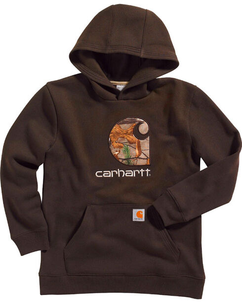Carhartt Boys' Camo Pullover Sweathirt, Dark Brown, hi-res