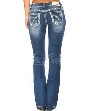 Grace in LA Women's Indigo Heavy Stitching Boot Cut Jeans - Plus , Indigo, hi-res