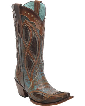 Corral Women's Gnarly Fish Studded Snip Toe Western Boots, Brown, hi-res