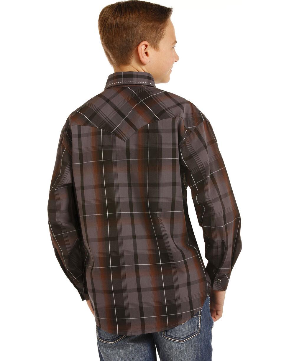 Rock & Roll Cowboy Boys' Poplin Paisley Print Saddle Stitch Snap Shirt, Brown, hi-res