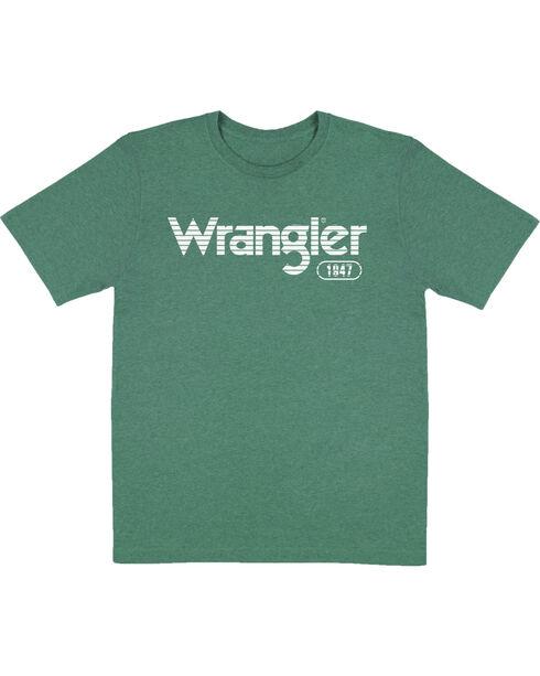 Wrangler Boys' Green Striped Logo Tee , Green, hi-res