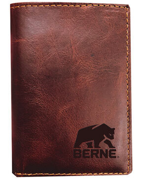 Berne Men's Cognac Tri-Fold Genuine Leather Wallet , Cognac, hi-res