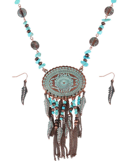 Shyanne® Women's Turquoise Concho Jewelry Set, Turquoise, hi-res