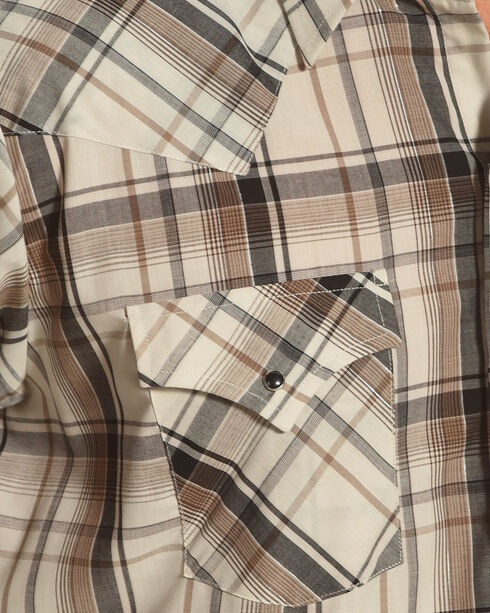 Ely Cattleman Men's Tan Lurex Plaid Long Sleeve Snap Shirt - Tall , Tan, hi-res